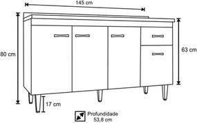Balcão para Pia Gabriela com 150 cm Flex Branco ou Preto - AJL Móveis
