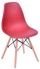 Cadeira Eames Eiffel Base Madeira - Vermelha