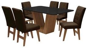 Conjunto Mesa de Jantar Safira com 06 Cadeiras Agata 160cm Cedro/Preto/Chocolate - ADJ DECOR