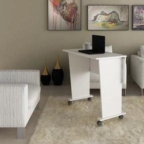 Mesa Dobrável Multiuso Rodas Notebook Home Office Branco