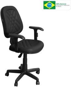 Cadeira Pethiflex CE-02GPBT Giratória Couro Preto