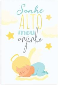 Placa Decorativa Sonhe Alto meu Anjinho Menino 30x40cm