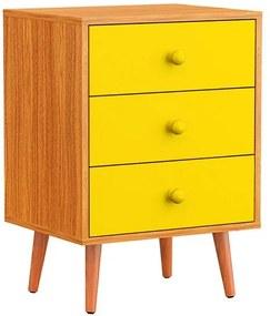 Mesa de Cabeceira 3 Gavetas Pés Palito Amarelo - Wood Prime PTE 6073