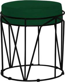 Puff Decorativo Sala de Estar Base Preto Chloe Suede Verde - Gran Belo