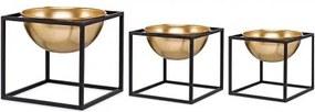 Conj 3 Cachepots preto em metal com suporte 10130 Mart
