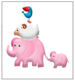 Quadro Para Quarto de Bebê Elefantes - KF 48387 40x60 (Moldura 520)