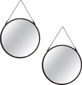 Kit 2 Espelho Redondo Suspenso Decorativo Alice Com Tira PVC Preto - Gran Belo