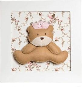 Quadro Decorativo Ursa Princesa Potinho de Mel Rosa