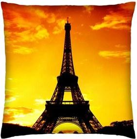 Almofada Colours Creative Photo Decor Torre Eiffel em Paris na França - tamanho 45 x 45 cm Amarelo