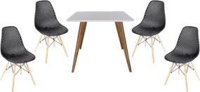 Conjunto Mesa Square Quadrada Branco Fosco 90x90cm + 4 Cadeiras Eames Colméia Preta