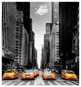 Quadro Decorativo Táxis e Arranha-Céu - KF 49548 40x60 (Moldura 520)