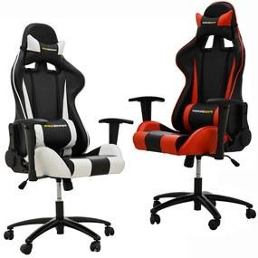 Kit 02 Cadeiras Gamer Giratória Reclinável com Regulagem de Altura PRO-V Sport PU Sintético Preto/Branco e Vermelho - Gran Belo