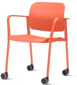 Cadeira Leaf com Bracos Base Rodizio Laranja - 54260 Sun House