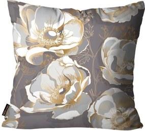 Almofada Premium Cetim Mdecore Floral Marrom45x45cm