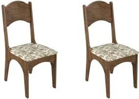 Kit 2 Cadeiras CA18 para Sala de Jantar Nobre/Floral - Dalla Costa