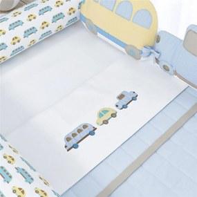 Jogo Lençol Mini Cama Carrinhos Amarelo 3Pçs Grão de Gente Azul