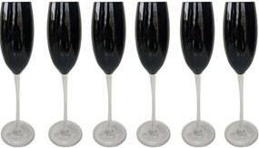 Jogo de 6 Taças p/Champagne em Vidro Preta 218ml - Rojemac