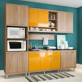 Cozinha Compacta Armário p/ Forno/Micro-ondas, Aéreos e Balcões de Pia/Cooktop - Argila/Laca Amarelo