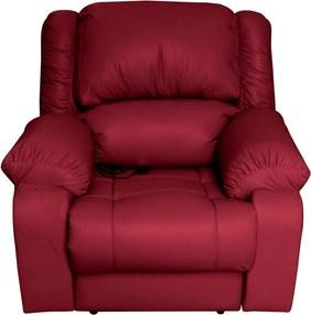 Poltrona do Papai Reclinável Elétrica com Massagem Magnum Couro (PU) Vermelho - Gran Belo