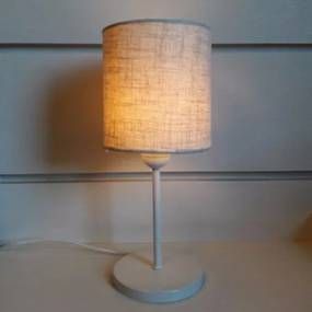 Abajur de Mesa Md-2010 Base Branco Cúpula em Tecido Cilindrica 14x15cm Rustico Bege - Bivolt