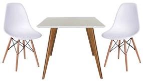 Conjunto Mesa Square Quadrada 90cm + 2 Cadeiras Eiffel Branco