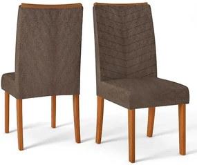 Conjunto 2 Cadeiras Lucila Rústico Terrara Tecido Pena Marrom
