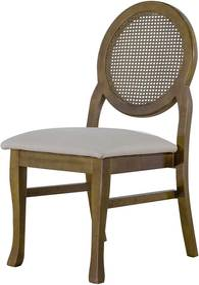 Cadeira De Jantar Medalhão Contemporânea Imbuia Palha  - Wood Prime 41223