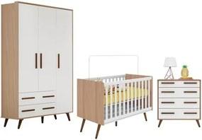 Quarto de Bebê Completo Retrô Carvalho/Branco - Qmovi