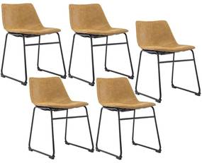 Kit 05 Cadeiras Decorativa Sala de Estar Recepção Fixa Maia PU Sintético Caramelo - Gran Belo