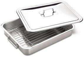 Assadeira/Lazanheira com tampa e grelha aço inox 395 x 335mm - Tramontina  Tramontina