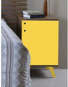 Criado Mudo 1 Porta Elegance - 100% MDF - Amadeirado e Laca Amarelo