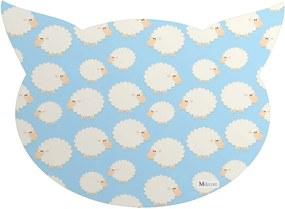 Tapete PET Mdecore Cabeça de Gato Ovelha Azul 54x39cm