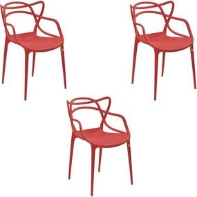 Kit 3 Cadeiras Decorativas Sala e Cozinha Feliti (PP) Vermelha - Gran Belo