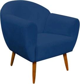 Poltrona Decorativa Sofia Suede Azul Marinho - D'Rossi