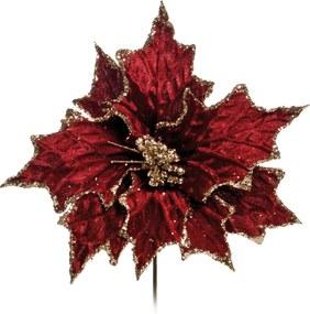Flor Natalina Artificial Decorativa Vinho Cabo Curto 30cm