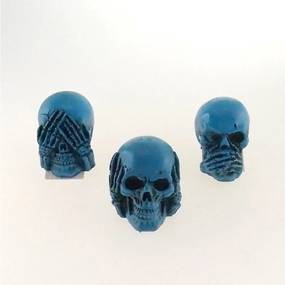 Trio Cranio Azul Caveira Resina Cego Surdo e Mudo Enfeite