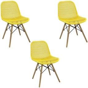 Kit 3 Cadeiras Decorativas Sala e Cozinha Haney (PP) Amarela - Gran Belo