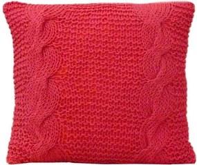 Almofada De Tricô Vermelha 35x35 Cm