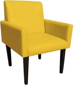 Poltrona Decorativa Dani para Sala e Recepção Corino Amarelo - D'Ross