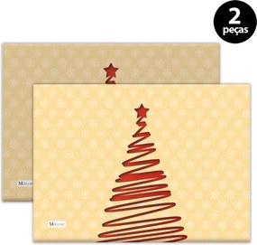 Jogo Americano Mdecore Natal Arvore de Natal 40x28 cm Bege 2pçs