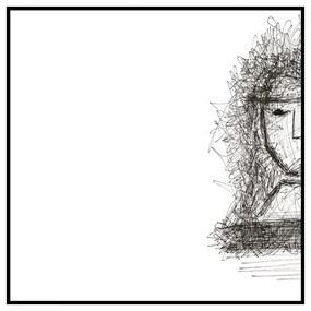 Quadro Decorativo Figurativo Expressão Facial Sereno Preto e Branco 70x70 - CZ 44112