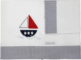 Lençol De Berço 03 Peças Naval Minha Casa Baby Marinho e Branco