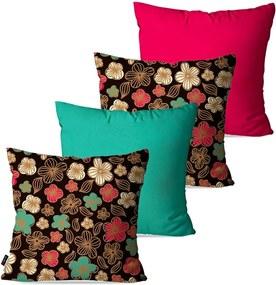 Kit com 4 Almofadas Pump UP Decorativas Coloridas Flores 45x45cm