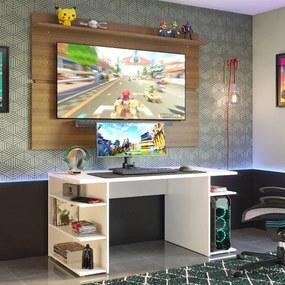 Mesa para Computador Gamer Madesa 9409 e Painel para TV até 65 Polegadas Branco/Rustic Cor:Branco/Rustic