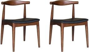 Kit 2 Cadeiras Decorativas Sala e Escritório Nami Madeira Tabaco - Gran Belo