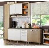 Cozinha Modulada Sicilia Argila Branco 04 Modulos Multimoveis