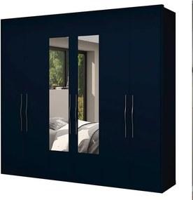Guarda Roupa Casal 6 Portas Com Espelho 2.5 Alpha Gelius Azul Marinho