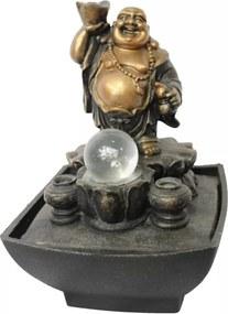 Fonte de Água Buda com Pote de Ouro na Mão (23cm) - 220v