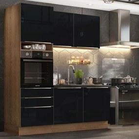 Cozinha Compacta Madesa Lux com Armário e Balcão 5 Portas 3 Gavetas Rustic/Preto Cor:Rustic/Preto
