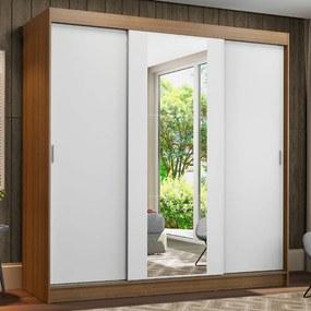 Guarda-Roupa Casal Madesa Reno 3 Portas de Correr com Espelho Rustic/Branco Cor:Rustic/Branco